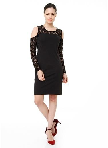Sense Dantel Detaylı Mini Elbise Siyah